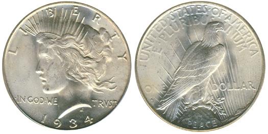 1934 S Peace Dollar